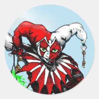 jester w-balloons2 classic round sticker