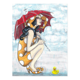 Jester With Umbrella + Rubber Ducky Art Postcard