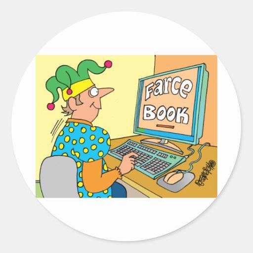 "Jester's Computer Screen Reads As ""Farce Book"" Round Sticker"