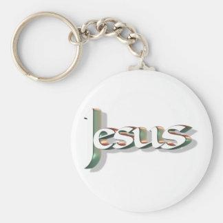 Jesus 3D Vert 3D Basic Round Button Keychain