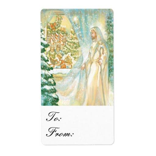 Jésus à Noël par le voile des étiquettes de cadeau Étiquette D'expédition