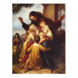 Jesus and Children Christmas Postcard
