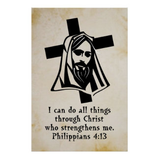 jesus and cross with scripture poster