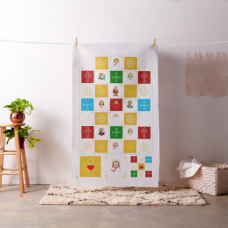 Jesus and Cute Saint Baby Quilt Squares Fabric