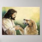Jesus and Golden Retriever Dog Art Print