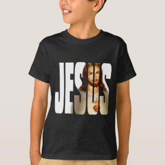 Jesus and His Image on Black T-Shirt