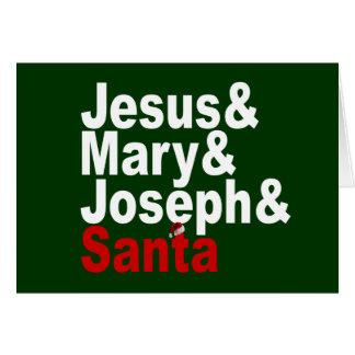 Jesus and Mary & Joseph & Santa Greeting Card