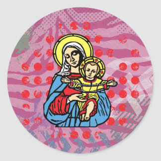 Jesus and Mary necklace, solid by christianstores. Round Sticker