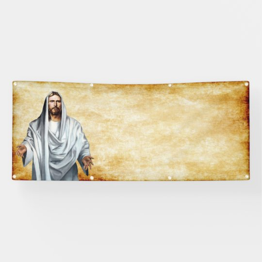 Jesus and parchment blank church template banner