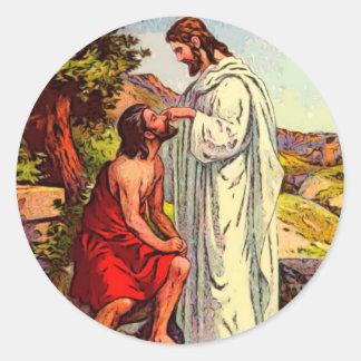 Jesus and The Blind Man Round Sticker