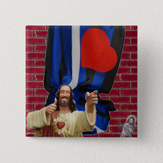 Jesus and the Leather Flag 2 Inch Square Button