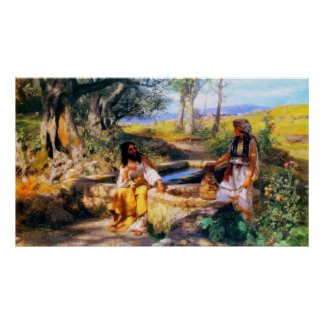 Jesus and the Samaritan Woman at Jacob's well Poster