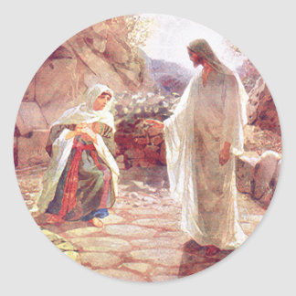 Jesus Appears To Mary Magdalene Classic Round Sticker