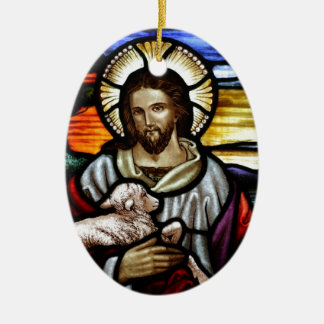 Jesus as the Good Shepherd Ceramic Ornament