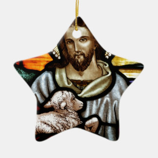 Jesus as The Good Shepherd Portrait Ceramic Star Ornament