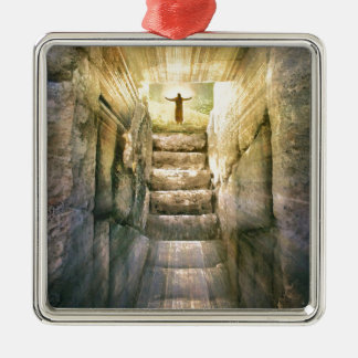 Jesus at Empty Tomb Easter Resurrection Metal Ornament