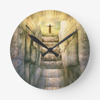 Jesus at Empty Tomb Easter Resurrection Round Clock