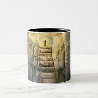 Jesus at Empty Tomb Easter Resurrection Two-Tone Coffee Mug