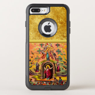 Jesus at Heaven's Gate with a gold foil texture OtterBox Commuter iPhone 8 Plus/7 Plus Case