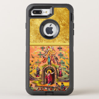 Jesus at Heaven's Gate with a gold foil texture OtterBox Defender iPhone 8 Plus/7 Plus Case
