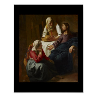 Jesus at Mary and Martha's Home Poster