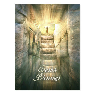 Jesus at the Empty Tomb in Light Rays for Easter Postcard