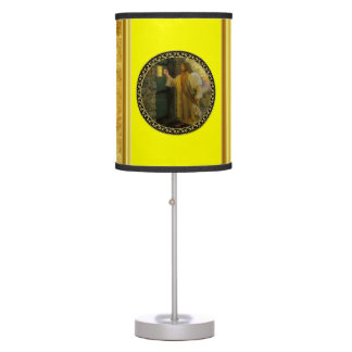 Jesus At Your Door gold foil with yellow texture Table Lamp