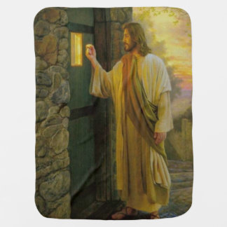 Jesus At Your Door Vintage Baby Blanket