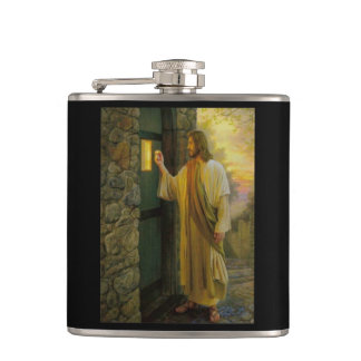 Jesus At Your Door Vintage Hip Flask