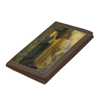 Jesus At Your Door Vintage Tri-fold Wallet