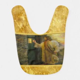 Jesus At Your Door with a gold foil design Bib