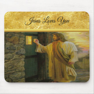 Jesus At Your Door with a gold foil design Mouse Pad
