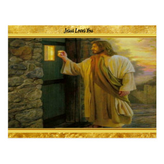 Jesus At Your Door with a gold foil design Postcard