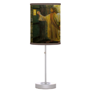 Jesus At Your Door with a gold foil design Table Lamp