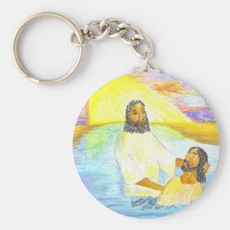 Jesus' Baptism Basic Round Button Keychain