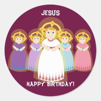 Jesus Birthday Sticker-Customize Round Sticker