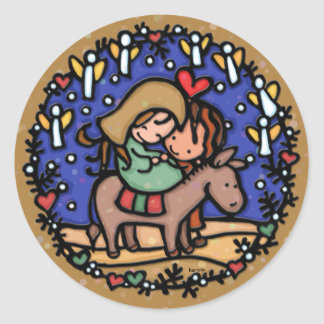 Jesus born Christmas day Angels rejoice CAMEL Round Stickers