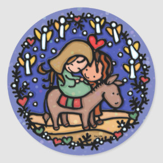 Jesus born Christmas day Angels rejoiced BLUE Round Sticker