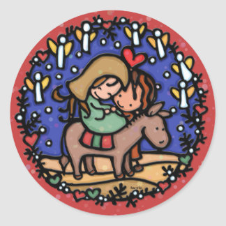 Jesus born Christmas day Angels rejoiced RED Round Sticker