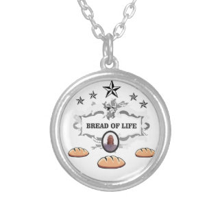 Jesus bread of life logo silver plated necklace