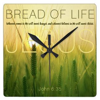Jesus Bread Of Life Wheat Field Square Wall Clock