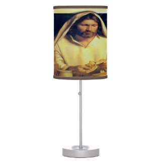 Jesus Breaking Bread Gold And Black texture Table Lamp
