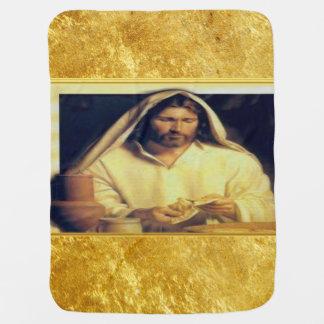 Jesus breaking bread matthew 14-13 Gold texture Baby Blanket