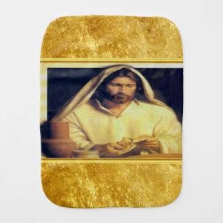 Jesus breaking bread matthew 14-13 Gold texture Burp Cloth