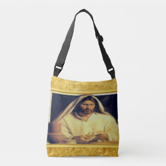 Jesus breaking bread matthew 14-13 Gold texture Crossbody Bag