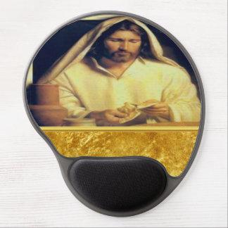 Jesus breaking bread matthew 14-13 Gold texture Gel Mouse Pad