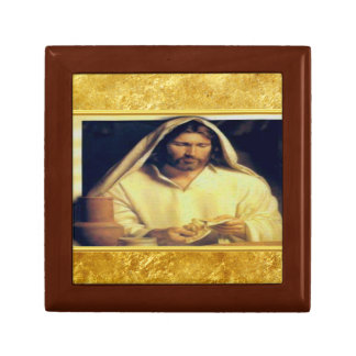 Jesus breaking bread matthew 14-13 Gold texture Gift Box