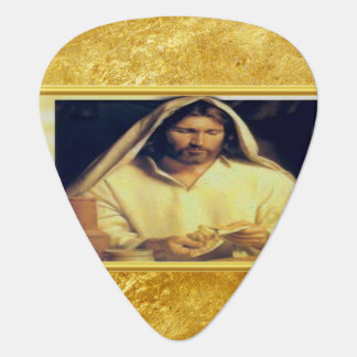 Jesus breaking bread matthew 14-13 Gold texture Guitar Pick