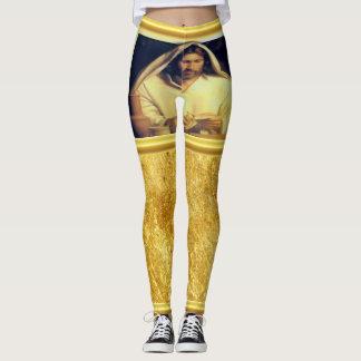 Jesus breaking bread matthew 14-13 Gold texture Leggings