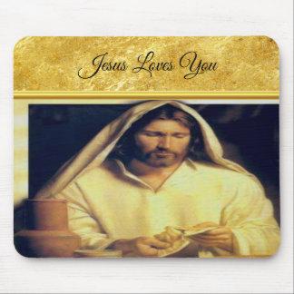 Jesus breaking bread matthew 14-13 Gold texture Mouse Pad